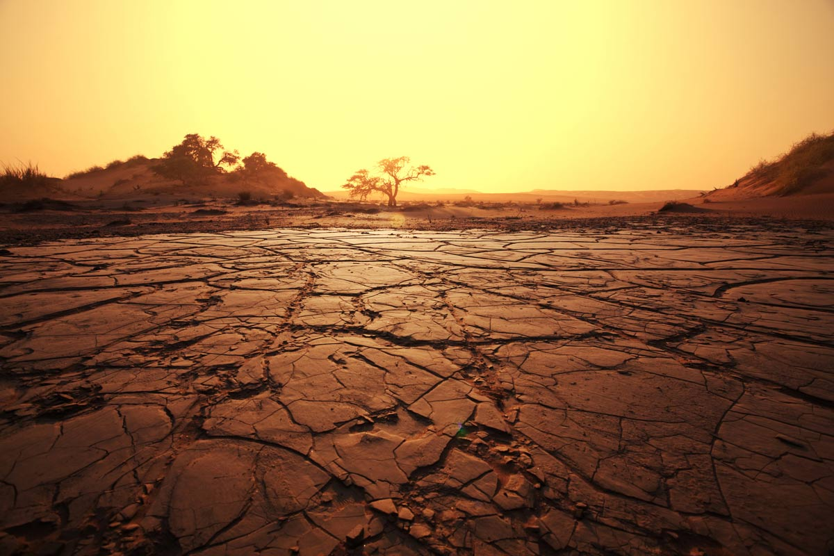 A parched desert illustrates the problem with dry mouth.